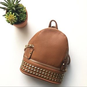 Handbags - Vegan leather Mini backpack caramel brown color